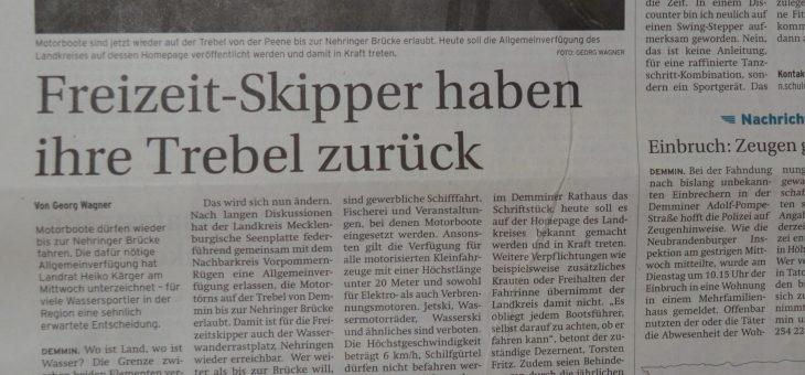 Zeitungsartikel: Das Befahren der Trebel ist wieder erlaubt!