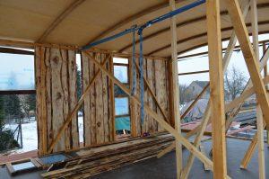 Das neue Hausboot während der Bauphase von innen.
